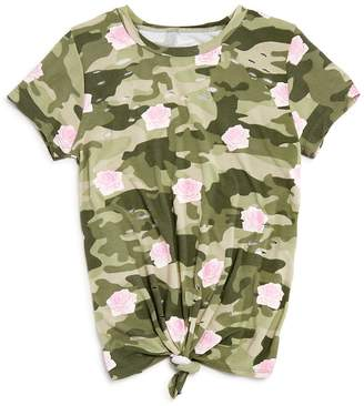 Flowers by Zoe Girls' Distressed Knot-Front Camo Rose Tee