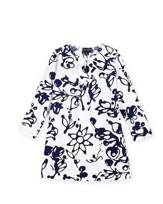 Oscar de la Renta Cotton Scribbles-Print Caftan, White/Blue, Size 2-14
