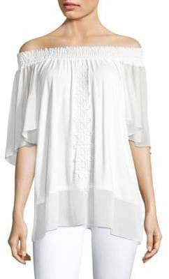 Elie Tahari Antonia Lace-Trim Top