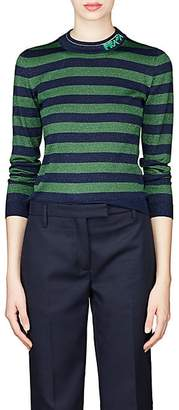 Prada Women's Metallic Wool-Blend Striped Sweater - Green