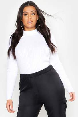 boohoo Plus High Neck Knitted Rib Top