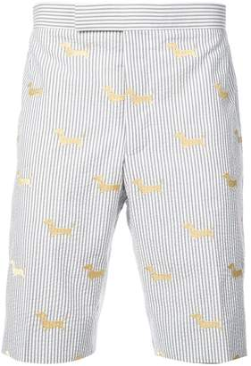 Thom Browne hector embroidery striped shorts