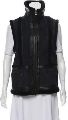 Vince Leather-Trim Shearling Vest