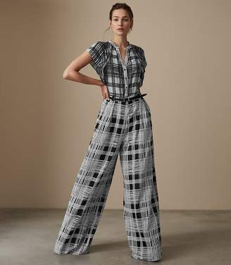 Reiss Natascha Checked Wide Leg Jumpsuit