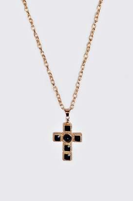 boohoo Black Stone Detail Cross