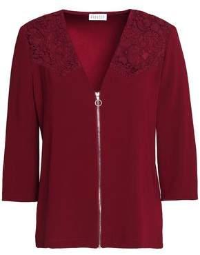 Claudie Pierlot Zip-Front Corded Lace-Paneled Crepe Top