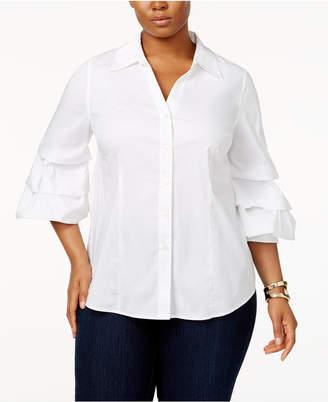 INC International Concepts I.n.c. Plus Size Ruffled-Sleeve Shirt, Created for Macy's