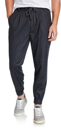 Brunello Cucinelli Men's Pleated Leisure-Fit Wool Trousers