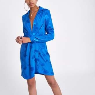 River Island Womens Blue plunge long sleeve shirt dress
