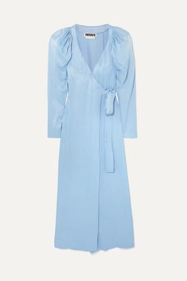 ROTATE Birger Christensen - Satin Wrap Maxi Dress - Light blue