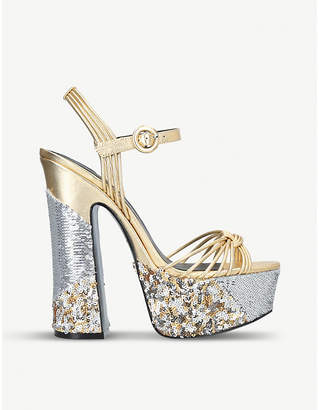 798e425d517 at Selfridges · Kurt Geiger London Carlisle metallic and sequin-embellished platform  sandals