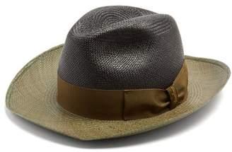 Borsalino Bi Colour Bow Embellished Panama Hat - Mens - Khaki Multi