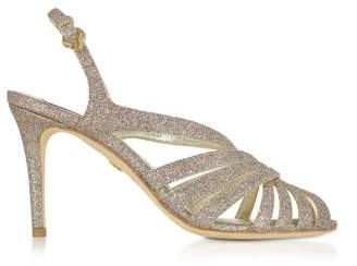 Roberto Cavalli Multicolor Glitter Textured Canvas Sandals