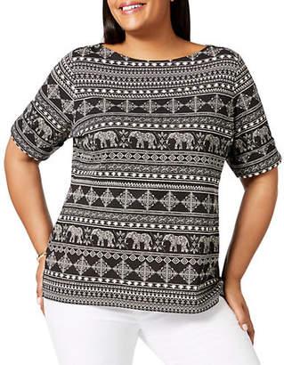 Karen Scott Plus Plus Size Cotton Elbow-Sleeve Top