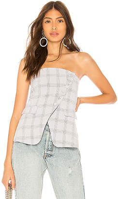 by the way. Jax Asymmetric Button Up Strapless Top