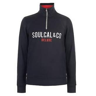 Soul Cal SoulCal Mens Deluxe Funnel Sweater Quarter Zip Jumper Pullover Neck OTH