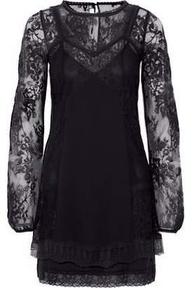 McQ Chantilly Lace-Paneled Crepe De Chine Mini Dress