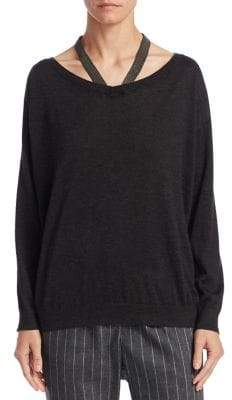 Brunello Cucinelli Silk and Cashmere Cut-Out Sweater