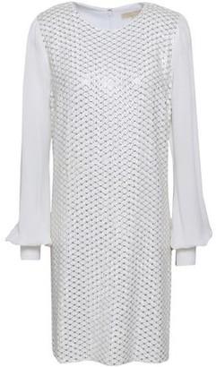 MICHAEL Michael Kors Leather-Trimmed Embellished Georgette Mini Dress