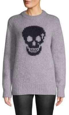 Skull-Print Textured Sweater