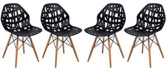 Mid-Century MODERN LeisureMod Akron Dining Side Chair With Wood Dowel Legs in Black Set of 4