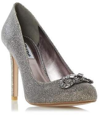 Dune Ladies BARBI Jewel Trim Round Toe Court Shoe in Gold Size UK 6
