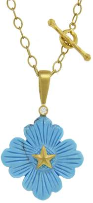 Cathy Waterman Turquoise Flower Texas Star Charm - Yellow Gold