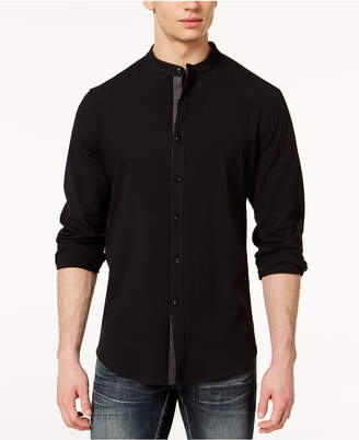 INC International Concepts I.n.c. Men's Seersucker Band-Collar Shirt, Created for Macy's