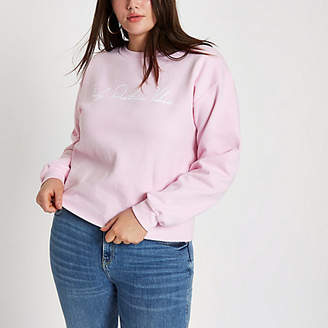 River Island Plus pink 'Only positive vibes' sweatshirt