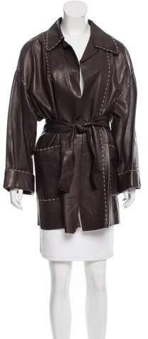 Fendi Belted Leather Coat