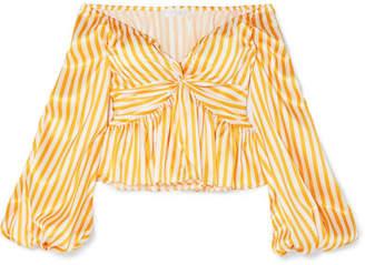 Caroline Constas Onira Off-the-shoulder Striped Silk-satin Blouse - Orange