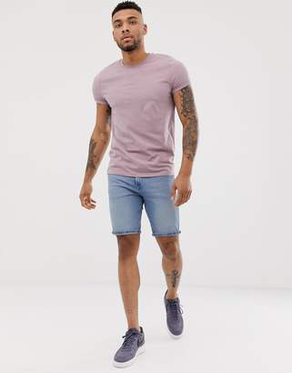 Asos Design DESIGN crew neck t-shirt with roll sleeve in purple