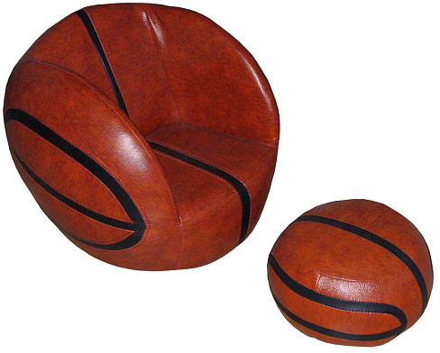 Tadpoles Vinyl Basketball Chair & Ottoman Set