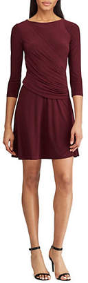Chaps Ruched Fit-And-Flare Dress