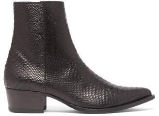 Western Snakeskin Embossed Leather Boots - Mens - Black