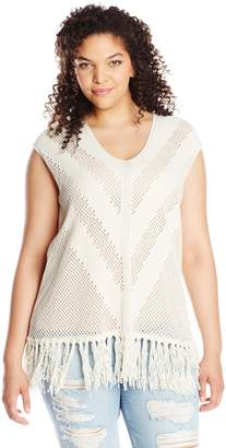 Vince Camuto Women's V Neck Pointelle Sweater with Fringe