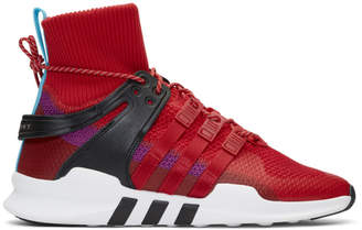 adidas Red and Purple EQT Support ADV Winter High-Top Sneakers