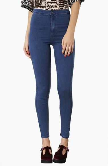 Topshop Moto 'Joni' High Rise Skinny Jeans (Dark Stone) (Regular, Short & Long)