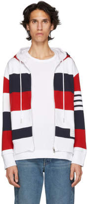 Thom Browne Multicolor Rugby Stripe Zip-Up Hoodie
