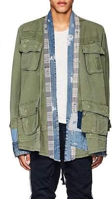 Greg Lauren Men's Patchwork Cotton-Linen Open-Front Jacket
