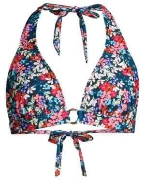 Shoshanna Women's Floral Ring Halter Bikini Top - Navy Multicolor - Size Small (A)