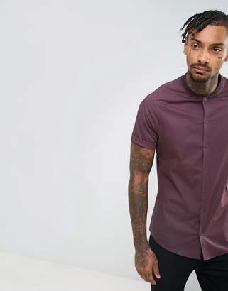 Asos Skinny Shirt With Baseball Collar In Burgundy