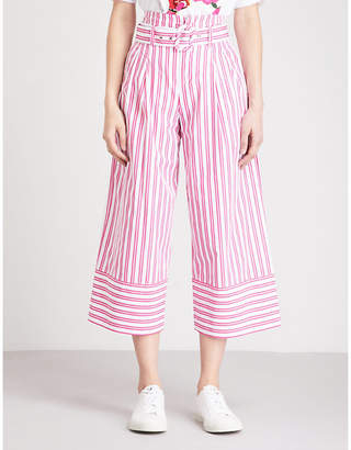Mo&Co. Striped paper bag-waist wide-leg cotton trousers