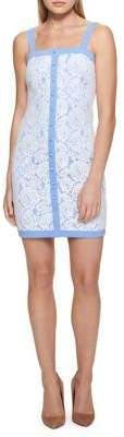 GUESS Buttoned Denim & Lace Dress