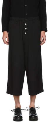 Yohji Yamamoto Black Wool Button Trousers