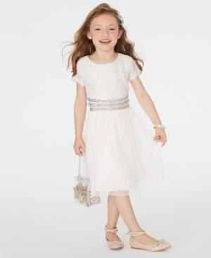 Speechless Toddler Girls Embellished Glitter-Lace Dress