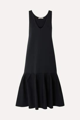 Tibi Fluted Stretch-ponte Dress - Midnight blue