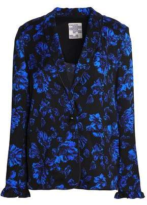 Ruffle-Trimmed Floral-Print Silk-Blend Twill Blazer
