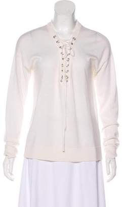 The Kooples Wool Lace-Up Top