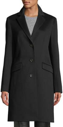 Cinzia Rocca Three-Button Notched-Collar Wool Coat